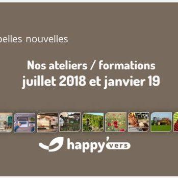 Atelier formation Happy Vers – Juillet 2018 et Janvier 2019